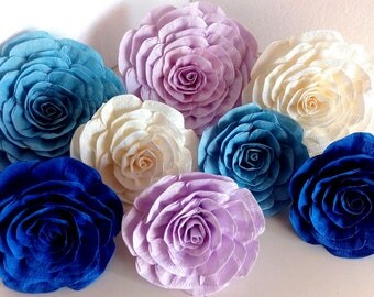 10 giant large paper flowers backdrop Prince decor Little man Mermaid Teal Navy blue bridal baby shower Wall boy wedding baptism christening