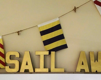 Sail Away Block Letters Gold - Navy