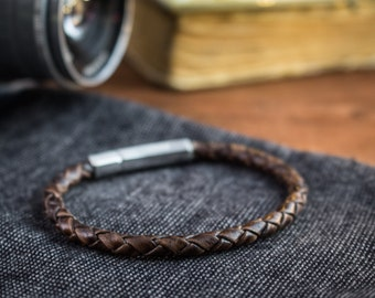 Antiqued Coffee genuine leather braided cord bracelet, mens bracelet, leather bracelet, cord bracelet, tan bracelet, scrambler bracelet