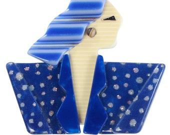 Lea Stein Carmen Joan Crawford Art Deco Brooch Pin - Blue