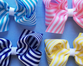 Striped Bows - set of 4