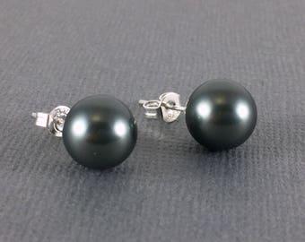Pearl Stud Earrings, Black Pearl Earrings, Sterling Silver Pearl Studs, Pearl Stud Earrings, Freshwater Pearl Earrings, Bridesmaid Jewelry