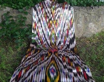 "FREE SHIPPING!A piece of Uzbek handmade 3 meters 100% silk vintage ikat ""Khan-atlas"""