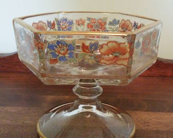 Vintage Floral Glass Candy Dish