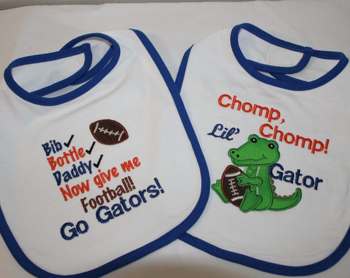 University of Florida, Gator Bibs, Gator Baby Bibs, Gator baby Clothes, Florida,UF,Florida Gators.Baby shower gift,New baby gift