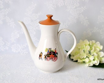 Vintage Coffee Pot, Horses and Carriage Print, Fun Vintage Tableware, Johnson Brothers, Earthenware, c 1960s