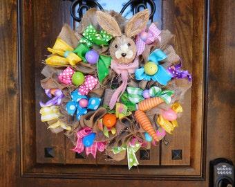 "SALE!! Easter Bunny Wreath - Burlap, Ribbon. Bunny Rabbit and Carrots  - 20"" diameter - Handmade - New! Spring - Festive - Colored Eggs"
