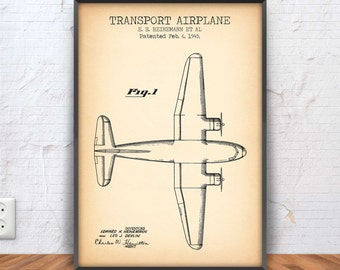 TRANSPORT AIRPLANE patent print, airplane poster, airplane printable, airplane blueprint, airplane decor, aviation, flying, pilot, #1061