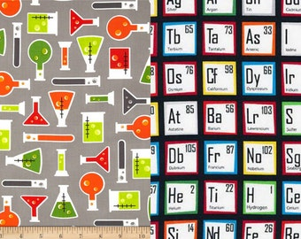 Bundle of 2 Half Yard cuts of Robert Kaufman  - 1/2 Y of Science Fair Periodic Table Multi  AND 1/2 Beakers  -  Back to school