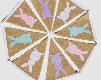 Hessian Spot Bunny Bunting / Bunny Banner / Burlap Bunting / Easter Decoration