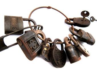 Set of Vintage Antique Padlocks