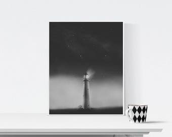 Black and white lighthouse photography, Coastal landscape, Printable Art, Minimalist Art, Printable Wall Decor, Gray Print, lighthouse print