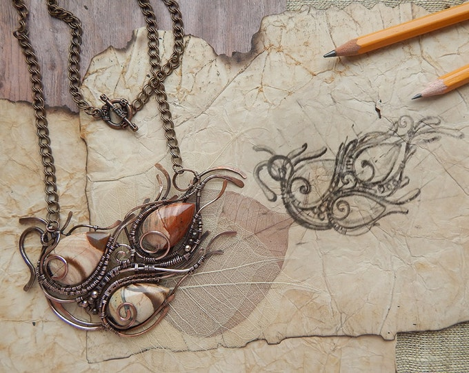 Wire-wrappered brown jasper boho pendant, wire winding necklace, floral style, Copper wire winding, Natural stone, Semi precious jewelry