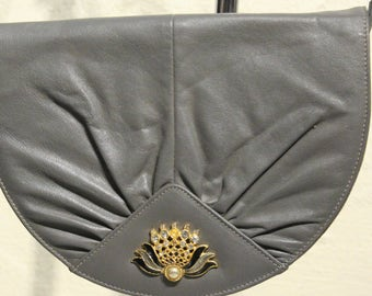 Vintage Grey Purse with Gold Jewel Detail