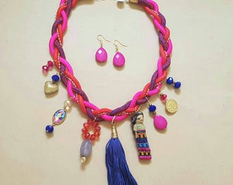 Frida Mexican handmade pink necklace