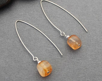 Carnelian Earrings - Long Earrings - Sterling Silver Earrings - Gemstone Earrings - Orange Earrings - Natural Stone Earrings - Drop Earrings