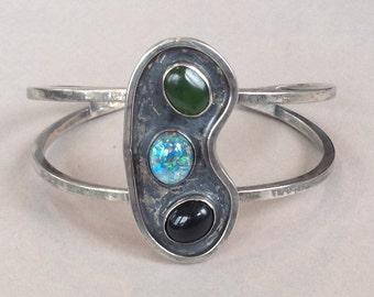 Modern Rustic Silver Jade Black Onyx Opal Bracelet