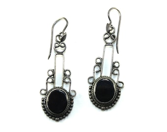 Onyx Earrings Sterling Silver Earrings Tribal earrings Boho Earrings Ethnic earrings Bohemian earrings Gypsy earrings Silver dangle earrings