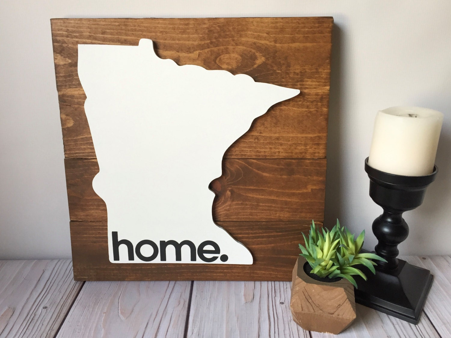 Rustic home sign rustic wall decor minnesota wall art for Decorative accessories for your home