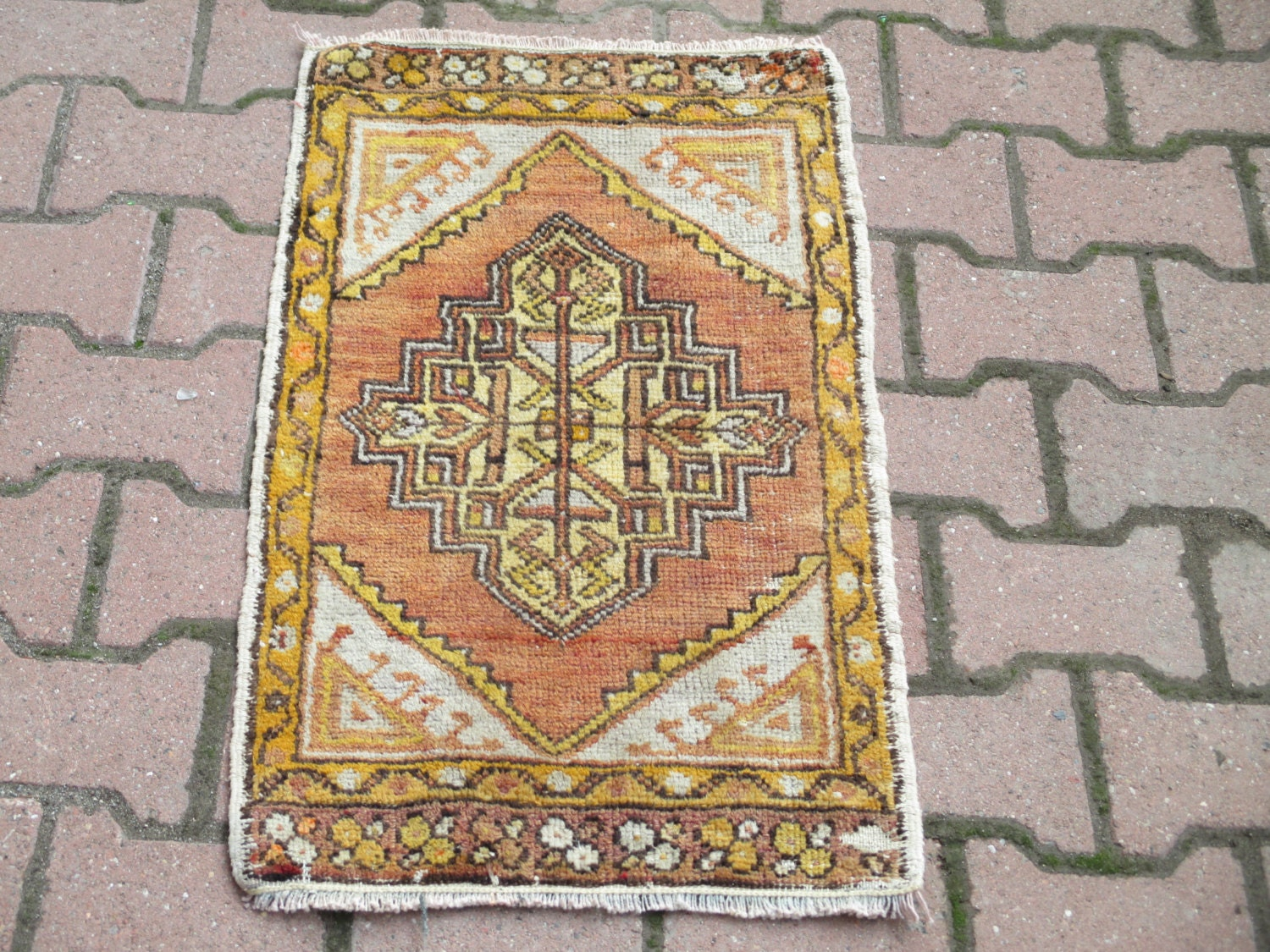 Vintage Turkish Rug Tribal Rug Door Mat Rug Bath Rug