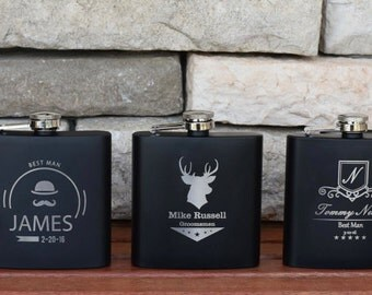 Personalized Flask - Flasks for Groomsmen - Two (2) Custom Flasks - Engraved Flask - Father of the Bride - Best Man - Usher - Wedding Favors