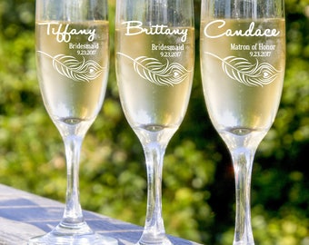 Bridesmaid  Gifts, Personalized Champagne Flutes, Custom Engraved Wedding Glasses, 10 Etched Bridal Party Glasses.  Bridesmaids Toast