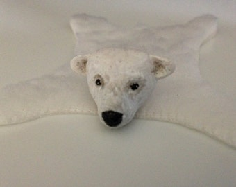 Miniature polar bear rug for dollhouse