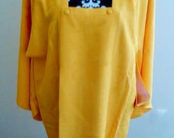 Vintage Japanese Ladies' Sunshine Yellow Synthetic Michiyuki Kimono Coat Holidays/Festival S/M Long