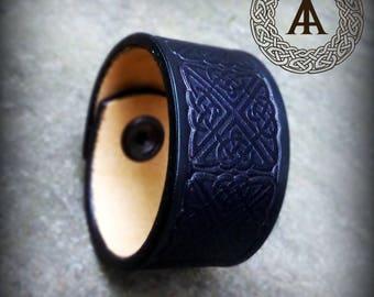 Black Leather Celtic Bracelet