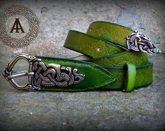 RESERVED Green leather Viking belt