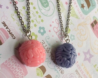 Kawaii Brain Necklace, Polymer Clay Brain Silver Necklace