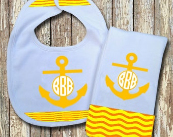 Anchor Monogrammed Baby Bib with matching Burp Cloth Set (Yellow)