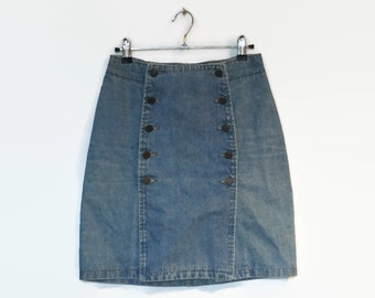vintage button up denim skirt, high waisted pencil skirt, bleached light blue jean, two buttons row, grunge, hipster 90s 80s