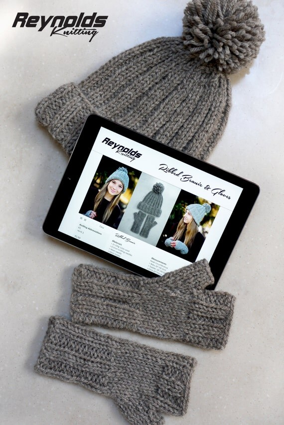 PDF Knitting Pattern - Ribbed Beanie & Gloves - Winter Bobble Hat - Grey ...