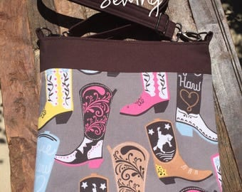 Girly Cowboy/ Cowgirl Boots Messenger Bag/Cross Body Bag