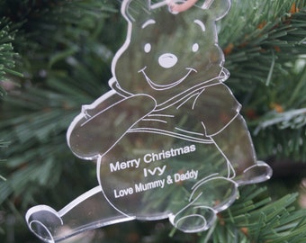 Childrens Winnie The Pooh personalised Christmas decoration, childrens personalised decoration, winnie the pooh, christmas decoration, gift