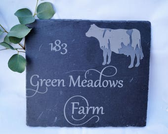 Slate house sign, slate shed, stable sign, personlaised sign, engraved sign, cow sign, house sign , farm house sign, dads plaque, gift