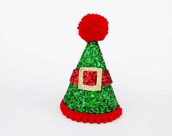 SALE - elf hat, glitter elf hat,  red hat, photo props, Christmas party, Christmas photo props, christmas oufit