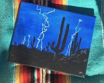 Cactus lightning storm painting