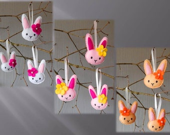 Set of 3 bunny ornaments. Embroidered felt Easter ornaments. Easter tree decor.  Easter bunny ornaments