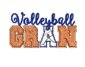 8x12 Hoop VOLLEYBALL GRAN-  Letter A Volleyball Embroidery design.  Applique GRAM & ball!  Sparkle and bling make it sing!