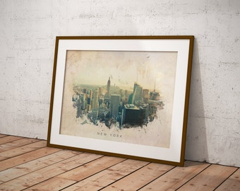 New York Abstract Watercolor Poster