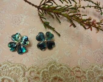 Vintage Four Leaf Clover Clip on Earrings, Abalone Clip on Earrings, Clip on Shell Earrings