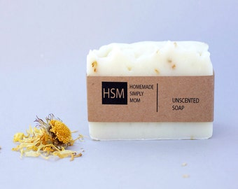 Unscented Soap with shea butter and Calendula Infused Olive Oil- Baby Soap - Vegan Soap- Palm Free soap-