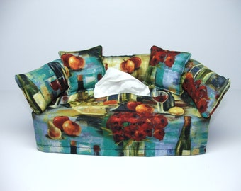 Wine (2) Designer fabric tissue box cover.