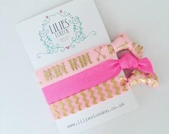 Bride tribe hairties, bridesmaid bracelets, pink hairbands, bachelorette gifts, hair accessories, elastic hair ties, ribbon hairties