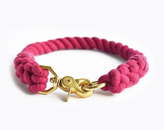 Custom Pink Rope Dog Collar