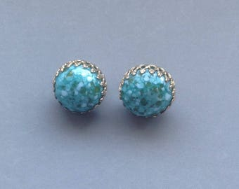 Gold and Blue Green Agate Earrings / Signed Castlecliff/ Button Earrings/ Clip-on Earrings/Fashion Accessory/Turquoise Blue - 1970's