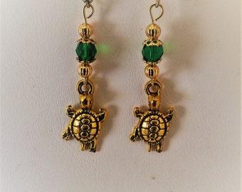 Tortoise Gold Tone Pierced Earrings