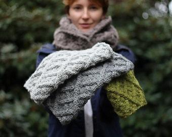Haselnuss Unisex Kutte Halswärmer gestrickte Schal Männer oder Frau – benutzerdefinierte Farbe – reiner Wolle + Alpaka